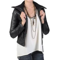 Amazon.com: Hailey Jeans Co Juniors High Collar Zippered PVC Leather Jacket: Clothing