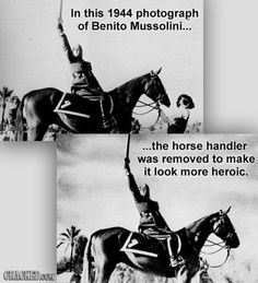 Benito Mussolini-the horse handler was removed.