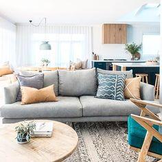Amazing space by the incredible duo @kyalandkara - spotted @pony_rider cushions! Come in and shop our range of cushions! Congrats to Kyal and Kara on the birth of beautiful baby Ziya  #toowoonbay #renovation #styling #blockheads #kyalandkara #interiors