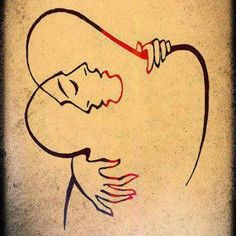 """""""""""The Embrace"""" - Artist Josef Kunstmann. The Embrace, Lovers Embrace, Simple Lines, Optical Illusions, Love Art, Mail Art, Art Drawings, Art Photography, Romantic Photography"""