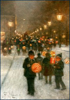 children with lanterns in the snow