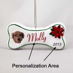 Dachshund Red Dog Breed Christmas Bone Ornament