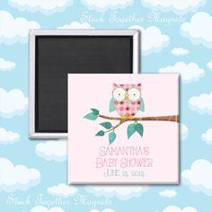 Pink Owl Baby Shower Favor Magnets by Stuck Together Magnets, $25.00