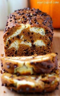 Pumpkin Bread with chocolate chips and a cream cheese swirl