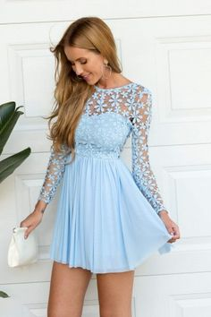 Light Blue Long Sleeve Crochet Tulle Skater Dress | USTrendy