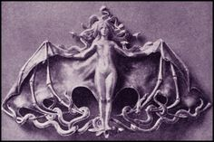 An 1899 Vampire. This is a design for a clasp, titled The Vampire, ...