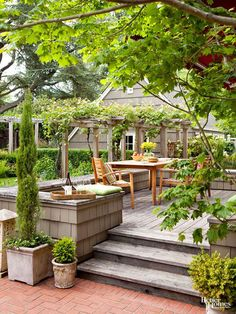 Green plantings serve as the artwork in this simple outdoor space. Potted shrubs…