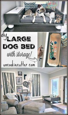Large Dog Bed with Storage - UncookieCutter.com - Best stuff for Dogs and Dog Lovers!