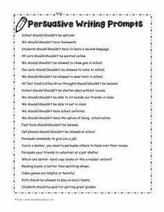 Persuasive writing worksheets and persuasive writing lessons Paragraph Writing Topics, 3rd Grade Writing Prompts, Persuasive Letter, Persuasive Writing Prompts, Argumentative Writing, Writing Prompts For Kids, Writing Lessons, Teaching Writing, Essay Writing