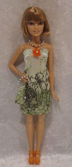 PETITE Barbie Fashionistas Doll Clothes #20 Dress, Purse & Beaded Necklace Set #ESCHdesigns