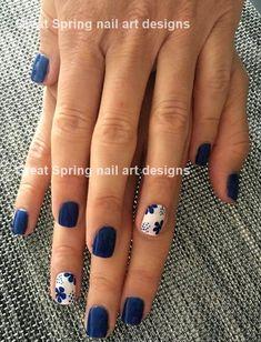 18 Nail Art Hacks Everyone Should Know Outstanding white and blue nail art Spring Nail Art, Nail Designs Spring, Spring Nails, Best Nail Art Designs, Summer Nails, Blue Nail Designs, Pedicure Designs, Short Nail Designs, Spring Design