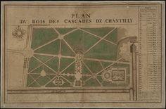 Plans architecturaux du domaine de Chantilly: Terrasse du Connétable: projets de Le Nôtre.