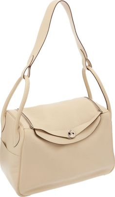 Hermes  34cm Parchment Clemence Leather Lindy Bag with Palladium Hardware.