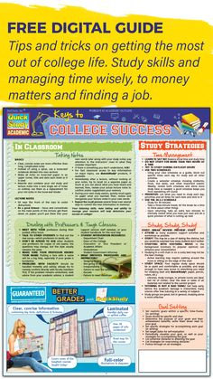 Free Digital Guide - Keys to College Success Our free study guide is filled with tips and tricks on getting the most out of college life. We've got everything covered from study skills and managing time wisely, to money matters and finding a job. College Success, Student Success, College Life, Study Tips For Students, Study Skills, Study Notes, Find A Job, Money Matters, Time Management
