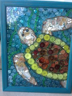 One of a kind mosaics made with buttons, beads and doodads Sea Glass Crafts, Sea Glass Art, Mosaic Diy, Mosaic Crafts, Button Art, Button Crafts, Rainy Day Crafts, Arts And Crafts, Diy Crafts