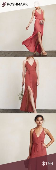 """NEW Reformation CITRINE Maxi Slip Dress M REFORMATION  Size MEDIUM  NWOT  'CITRINE' dress Strawberry coral colorway Spaghetti straps 100% viscose Deep V neckline High slit along one leg Waist tie/belt not included Plunging V back with strappy details Maxi length (approx. 52"""" long)  CHEAPER on E - BAY! Reformation Dresses Maxi"""