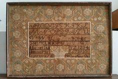 ANTIQUE 19TH CENTURY ALPHABET SAMPLER cross stitch BY NANCY DAY