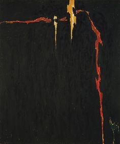 Clifford Still is the artist of this painting. I love the fact that there is only a small bit of color on this painting, and how it is mostly black, yet the painting seems to be very textured.
