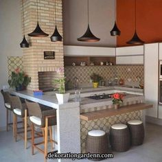 Interior Living Room Design Trends for 2019 - Interior Design Outdoor Kitchen Design, Patio Design, House Design, Kitchen Nook, Kitchen Decor, Small Open Kitchens, Sweet Home, Built In Grill, Interior Decorating