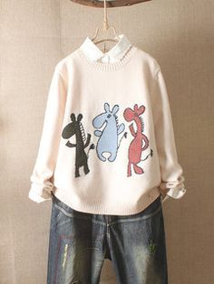 Long Sleeve Cartoon Print O-neck Women Casual Sweater is on sale at reasonable prices, having a beautiful sweater & cardigan, you can own a beautiful autumn. Machine Applique, Casual Sweaters, Chic Outfits, Latest Fashion Trends, Sweater Cardigan, Graphic Sweatshirt, Sweatshirts, Long Sleeve, Appliques