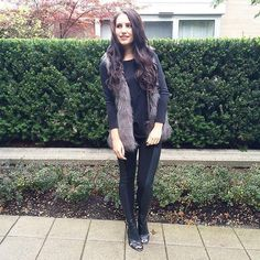 Blogger @ktysire of Girl in Betsey shows off the hottest fall trend, the fur vest