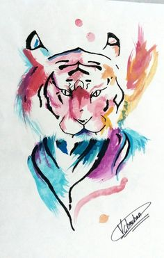 Water Colour Tiger Painting