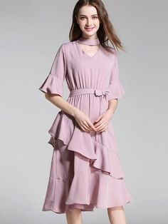 Chiffon Tiered Flared Sleeve Women's Day Dress