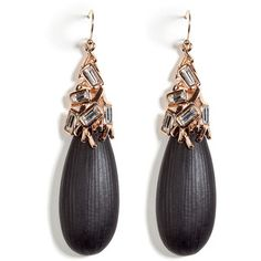 ALEXIS BITTAR Black Lucite Earrings With Encrusted Crystals