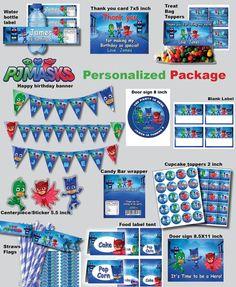 Paquete personalizado PJ máscaras cumpleaños fiesta Digital
