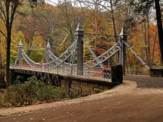 The Silver Bridge in mill creek park, Youngstown; My girlfriend's dad helped to build this! Cleveland Ohio, Cincinnati, Great Places, Places To See, Mill Creek Park, Youngstown Ohio, The Buckeye State, Suspension Bridge, Old Barns