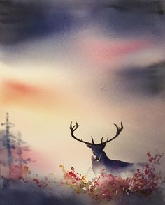 Deer #deer #watercolor #watercolour #akvarell #акварель #cartel_watercolorists #instaartist #artoftheday #fog #mist #top_watercolor #artofnature #art #sweden #örebro #hunting #konst #waterblog #absolutart