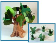 Dino Mini World Papercraft - Trees and Grass