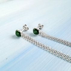 Handmade Jewelry Designs, Green Aventurine, Beach Jewelry, Sterling Silver Earrings, Studios, Stud Earrings, Gemstones, Chain, Gold