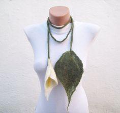 Felted Flower  Scarf Necklace Green Cream  Lariat Scarf  by nurlu, $35.00