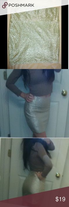 Sparkle Bandage Skirt! Silver sparkling bandage skirt with nude lining (shown in last picture)! Extremely comfortable and very flattering for any body type. Size Medium! Perfect condition! Decree Skirts Mini