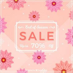 Sale background with flowers in realistic style Free Vector