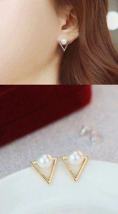 S925 Triangle Pearl Earrings