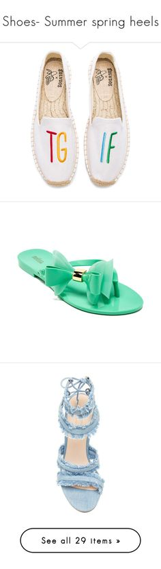 """Shoes- Summer spring heels"" by lulalalala ❤ liked on Polyvore featuring shoes, slippers, flats, sandals, flip flops, mint shoes, mint green shoes, mint green flip flops, mint flip flops and mint sandals"