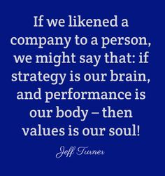If we likened a company to a person, we might say that: if strategy is our brain, and performance is our body – then values is our soul!