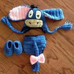 Crochet baby newborn through 12 mos Eeyore by CrochetbyDestinee, $35.00
