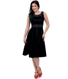 1950s Style Black & White Dotted Sleeveless Recital Swing Dress