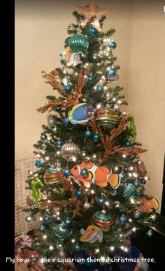 Aquarium themed Christmas tree.  This was by far my best idea come to life.  I did this tree three years in a row.