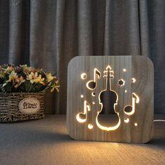 Lovely Nursery USB Powered Violin Wooden Night Light Carving Pattern Table Desk LED Lamp Beside Nightlight Home Decoration Art Sculpture Lights for Children Diy Luz, Best Desk Lamp, Room Lamp, Bed Room, Unique Lamps, Night Lamps, Plywood Furniture, Cheap Furniture, Lamp Design