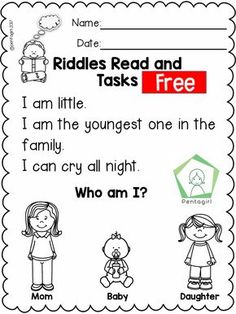 Free Riddles Read and Tasks Set 2 Phonics Reading, Reading Comprehension Worksheets, Guided Reading, Reading Practice, First Grade Writing Prompts, Teaching First Grade, English Grammar For Kids, English Worksheets For Kids, Kindergarten Writing
