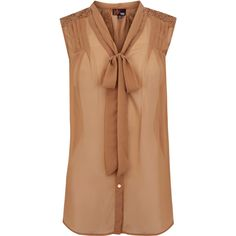 Oasis Dina Sleeveless Blouse featuring polyvore fashion clothing tops blouses shirts tank tops blusas button front blouse bow top sleeve shirt no sleeve shirts beige shirt