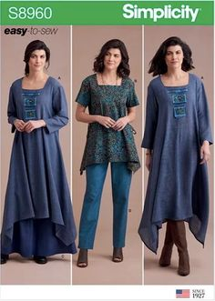 Terrific Photographs lagenlook Sewing patterns Tips Simplicity Sewing Pattern Misses' Dress Or Tunic, Skirt and Pant Tunic Dress Patterns, Tunic Pattern, Top Pattern, Clothing Patterns, Pants Pattern, Boho Style Dresses, Loose Dresses, Linen Dresses, Miss Dress