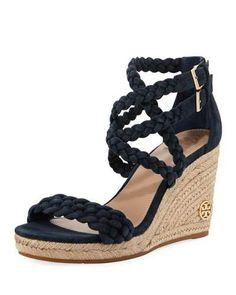 81d175a1889fe0 Tory Burch Bailey Braided Wedge Sandal Navy Wedge Sandals