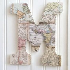 """Maps Pattern 9"""" Letter M, Hanging Letter, Decorated Letter,Wood Letter, Wall Art, Nursery, Baby Letter, Dorm, Initial, Father's Day Gift"""