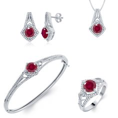 Brass Jewelry Set- Diamond and Created Ruby (I-J, I2-I3) | Overstock.com Shopping - The Best Deals on Jewelry Sets