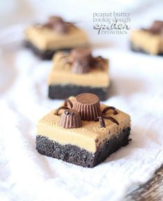 Peanut Butter Cookie Dough Brownies...Halloween Style! #brownies #recipe #halloween